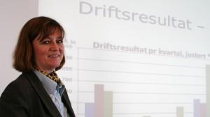 Finansdirektør Pernille Kring Gulowsen kunne med stolthet presentere tidenes beste resultat i Agder Energi.